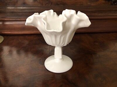 "Vintage Hobnail Ruffled footed compote bowl Milk Glass 6""Tall Unmarked"