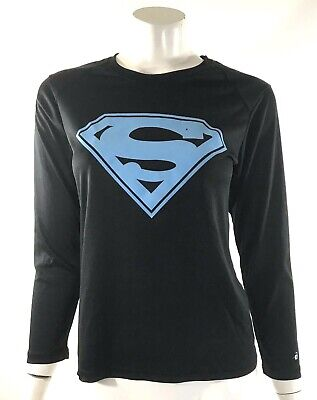 dc6fee1702270 Badger Top Size Small Black Blue Superman Graphic Athletic Workout Shirt  Womens