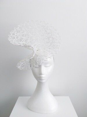 Miss Racey womens open weave headband fascinator in White