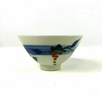 Nice Antique Japanese Porcelain Bowl W/ Blue leaf Decoration