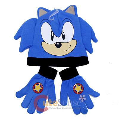 3e7c8319777bc SONIC THE HEDGEHOG Beanie Gloves Set Knitted Kids Hat Set Sonic Face ...