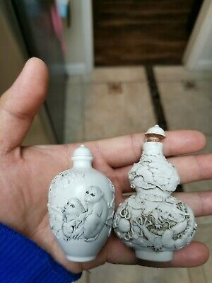 Estate Old House Chinese 2x Porcelain Porcelain Snuff bottles Marked Asian China