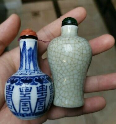 Estate Old House Chinese 2x Porcelain Qianlong Snuff bottles Asian China