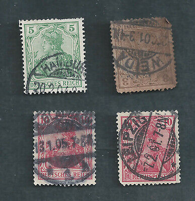Germany Scotts Stamp # 53, 55, 67, & 68 - 3 with SON Cancels, SCV 3.75