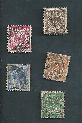 Germany Scotts Stamp # 46, 46a, 47, 48, & 49 used Nist w/ Sock on nose cancels