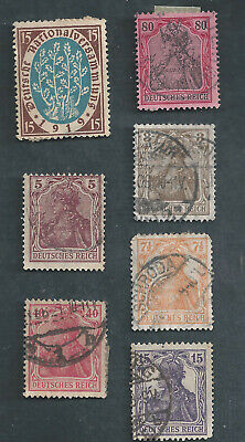 Germany Scotts Stamp # 74, 81, 83, 98, 100, 106, 118, & 124 used, 1 hinged