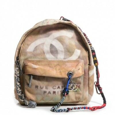 7d7dbb4730ac AUTHENTIC CHANEL GRAFFITI Printed Canvas Backpack