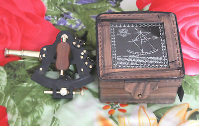 """4"""" Nautical Solid Brass Collectible Sextant With Leather Box Vintage Gift"""