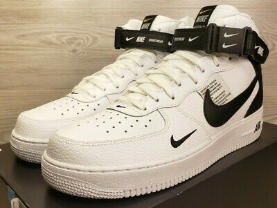 separation shoes f2926 582c5 Nike Air Force 1 Mid 07 LV8 White Black Basketball Fashion 804609 103 Pick  Size