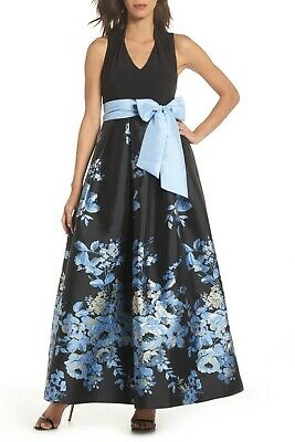 dec510abce6a84 Eliza J Womens ITY Mixed Media Halter Neck Top Ballgown Black Blue Floral  Size 2