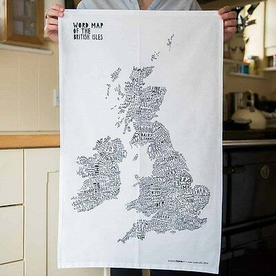 New Luckies of London Word Map of The British Isles/Tea Towel Kitchen Gift UK