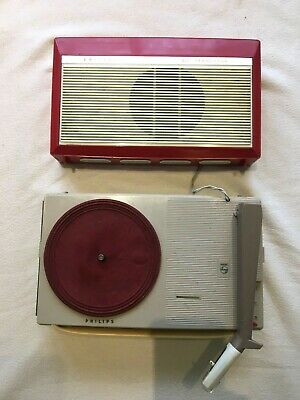Portable Transistor Radio/Turntable Record player - Vintage 60s Philips RT2