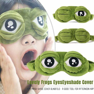 Lovely Frog Sad frog 3D Eye Mask Cover Sleeping Funny Eyepatch Rest Cute Toy UX