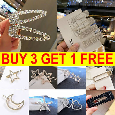 Women's Girls Hair Clip Rhinestone Crystal Hairpin Barrette Slide Clips Grip