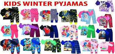 New Size 1-12 Kids Pyjamas Winter Boys Girls Sleepwear Tshirt Tee  Nighties Pjs