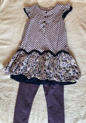 Girls Short Sleeve Dress And Matching Leggings Outfit Age 3-4 Years