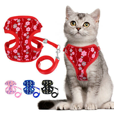 Cat Puppy Vest Printed Mesh Kitten Harness Leash Set Adjustable Walking Lead