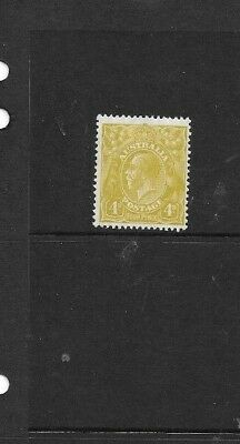STAMPS AUST KGV  4d OLIVE  SMALL MULTI WMK  13.5=12.5 MLH
