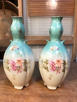 Pair of Antique European Hand Decorated Mantle Vases Floral Motif