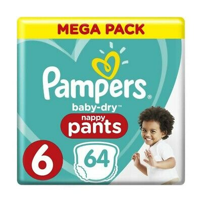 Pampers Baby-Dry Pants Taille 6, 15+ kg, 64 Couches-Culottes - Mega Pack
