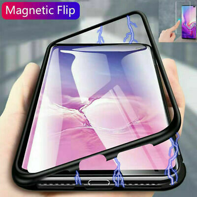 For Samsung Galaxy S10 Note9 360° Magnetic Adsorption Metal Tempered Glass Case