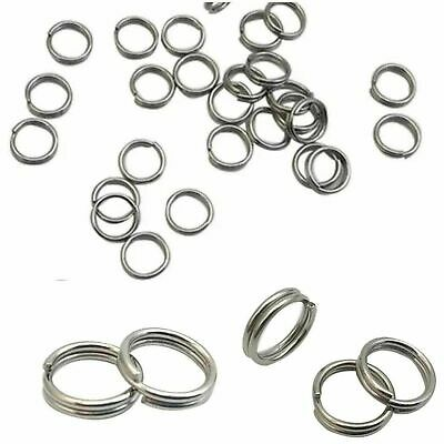 Thick Strong STAINLESS STEEL 10mm Keyring 'Split Rings' Key Chain Links Rhodium