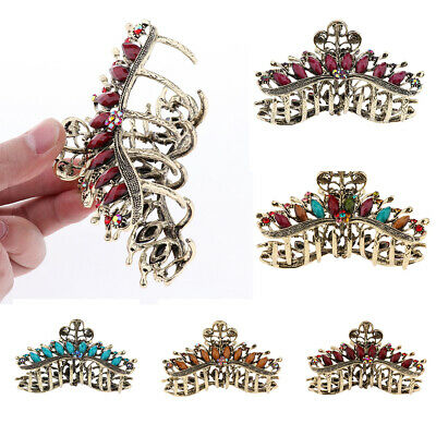 11.5cm Wide Silver Crystal Flower Clamp Hair Clip Grip Claw Vintage Style