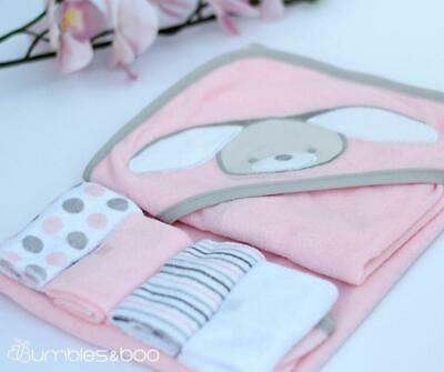 Baby Girl Hooded Towel and Wash Cloth Set | FREE Delivery