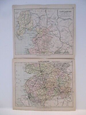 19th CENTURY, Two Coloured Lithographs, MAPS - LANCASHIRE, NORTH & SOUTH, c.1880