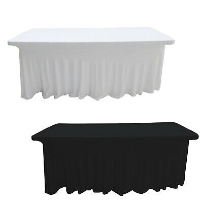 6ft Spandex Rectangle Table Cloth Ruffle Skirt Style Stretch Cover Dining Party