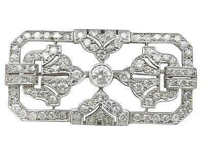 Antique French Art Deco 4.53ct Diamond and Platinum Brooch