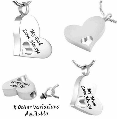 Urn Necklace Mum Dad Cremation Jewellery Ashes Pendant Locket Keepsake Grandad