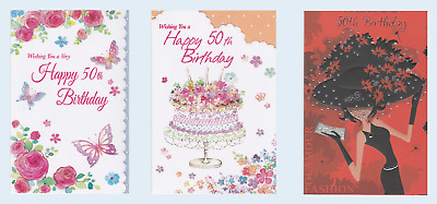 50th birthday card for a Woman ~ choice of 3 designs