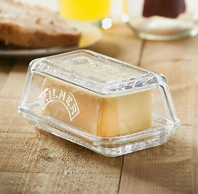 Kilner Butter Dish Tray Storage Holder With Lid Embossed Clear Glass Vintage New