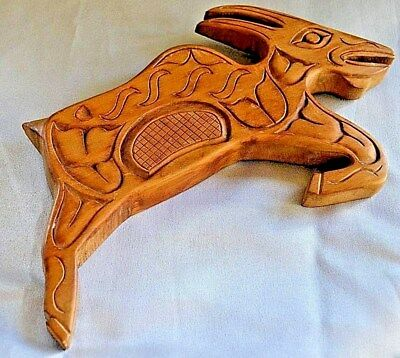 Montain Aboriginal Indian Group  Hand Carved  Wood Goat