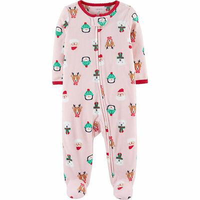 0444bac514fb NWT CARTERS BABY Girls SANTA SNOWMAN REINDEER Christmas Footed ...