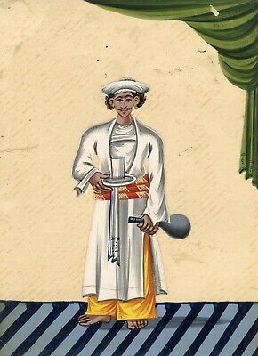 Company School 19th-century Indian Mica Painting in Gouache -Servant with Bottle