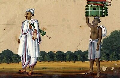 Company School 19th-century Indian Mica Painting in Gouache, Umbrella Hawker