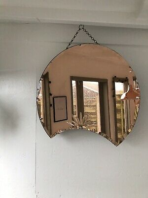 Art Deco Peach Mirror Frameless Mirror Copper Mirror Etched Deco Oval