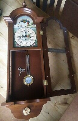 Antique vintage Dutch wooden wall clock pendulum 8 day Regulator hand painted
