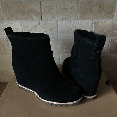 a46ae725dc47 Ugg Marte Black Suede Waterproof Wedge Ankle Boots Booties Size 7 Womens