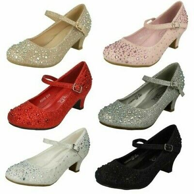 Spot On H2R186 Girls Red and Black Sequin Ballerina Shoes R36B