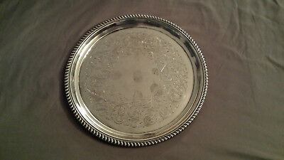 Vintage Birks Regnecy Plate Etched Round Silver Tray