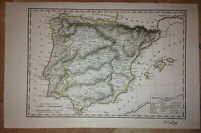 SPAIN PORTUGAL 1824 by ROSSARI XIXe CENTURY ANTIQUE COPPER ENGRAVED MAP