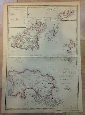 CHANNEL ISLANDS 1863 by WELLER XIXe CENTURY DETAILED ANTIQUE ENGRAVED MAP