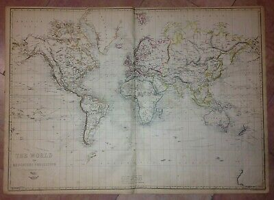 WORLDMAP 1863 by WELLER XIXe CENTURY LARGE ANTIQUE ENGRAVED MAP (65 x 46 cm)