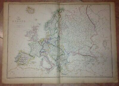 EUROPE 1863 by LOWRY XIXe CENTURY LARGE ANTIQUE ENGRAVED MAP (66 x 47 cm)