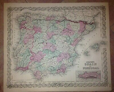 SPAIN PORTUGAL DATED 1855 by COLTON XIXe CENTURY ANTIQUE COPPER ENGRAVED MAP