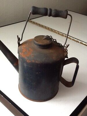 Vintage Eagle USA Oil Can Bail Handle Long Spout Screw Top Great Patina!