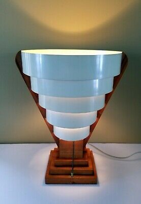 Vtg Unique Mid Century Skyscraper Table Lamp Shade 1960s Unusual MCM Beauty Rare
